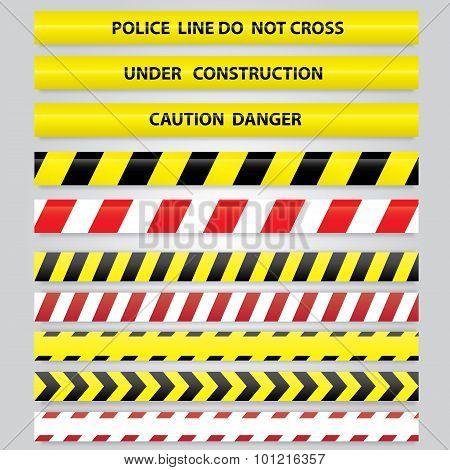 Set of different danger tapes