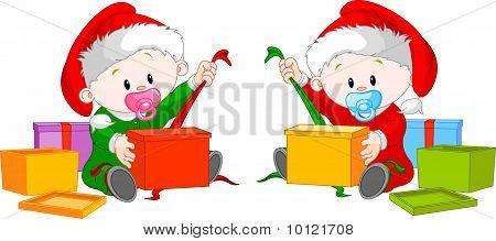 Christmas  Twins  Open Gift