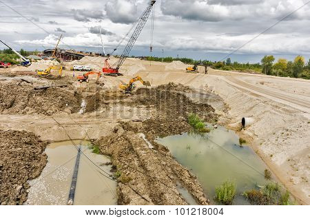 Bridge and road construction. Tyumen. Russia