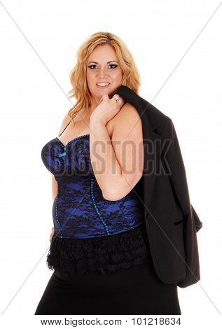 Blond Full Size Businesswoman Jacked Over Shoulder.