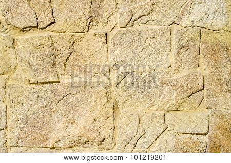 Yellow Stone Cladding Plates On The Wall