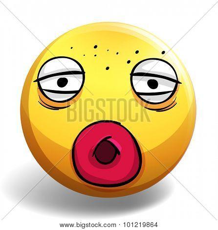 Sleepy face on yellow ball illustration
