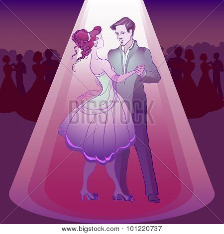 Couple dancing waltz