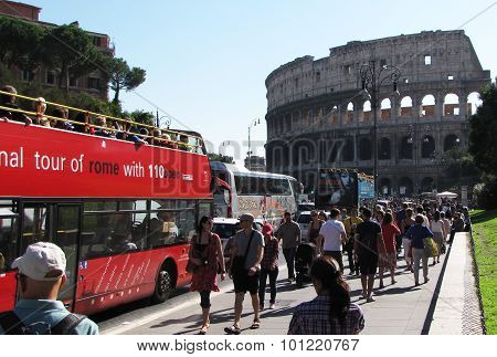A Street Full of Tourists Heading to the Coliseum in Rome