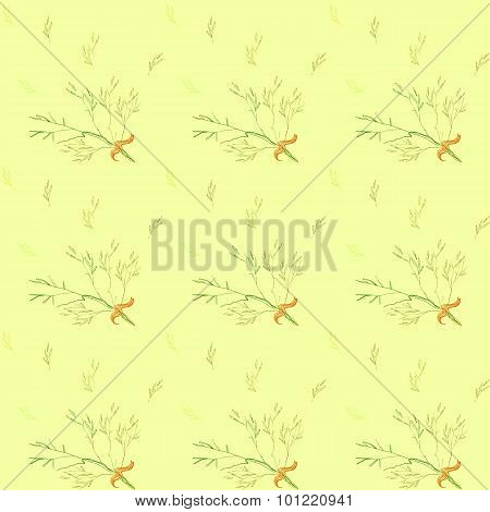 Seamless pattern with light green herbs ang ribbon