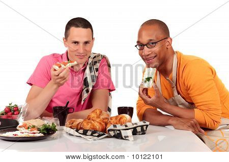 Mixed Ethnicity  Gay Couple Kitchen