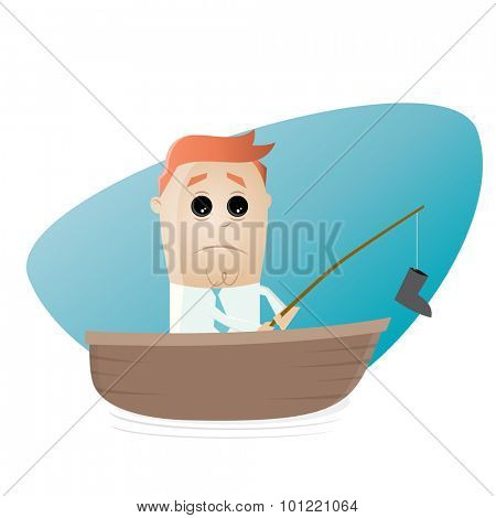 funny businessman on a boat with bad catch
