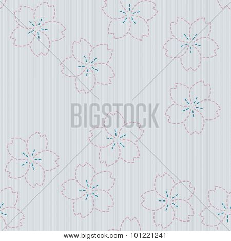 Antique japanese fancywork. Sashiko with sakura flowers. Seamless pattern.