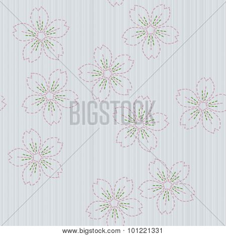 Traditional japanese embroidery. Sashiko with sakura flowers. Seamless pattern.