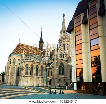 Cathedral of St. Matthias near the fisherman`s bastion in Budapest