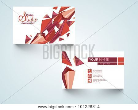 Stylish professional horizontal business card, name card or visiting card set with creative abstract design.