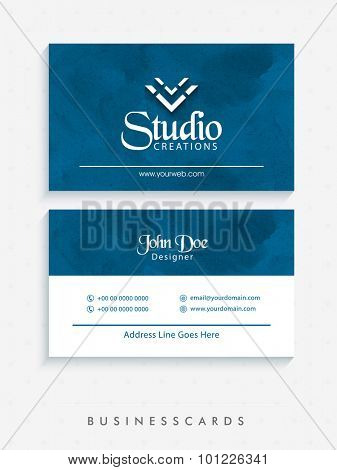 Stylish horizontal business card, name card or visiting card set in grungy blue and white colors.