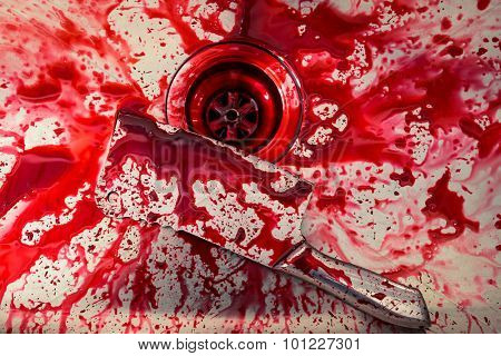 Kitchen sink with knife and blood  for Halloween