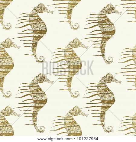 vector background with seahorses in gold color