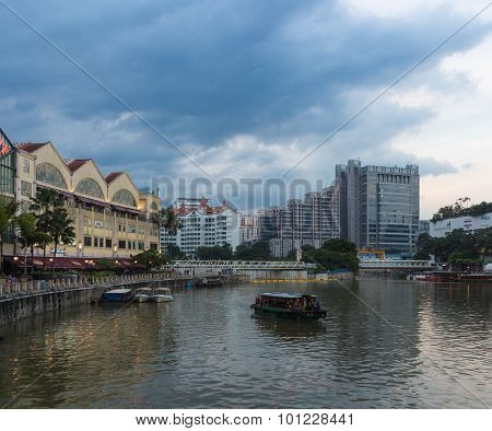 Clarke Quay  In Evening, Coloured Buildings And Skyscapers