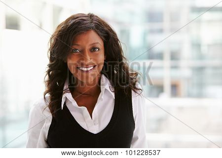 Mixed race businesswoman, head and shoulders portrait