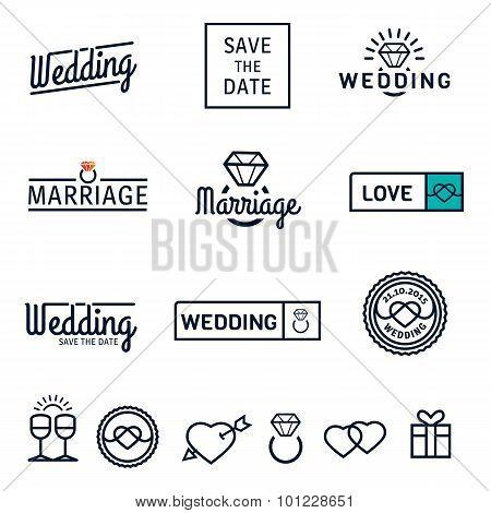 Wedding set icons and logos