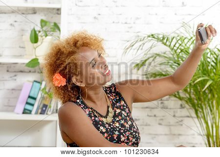 African Woman Taking A Selfie Self Portrait With Phone