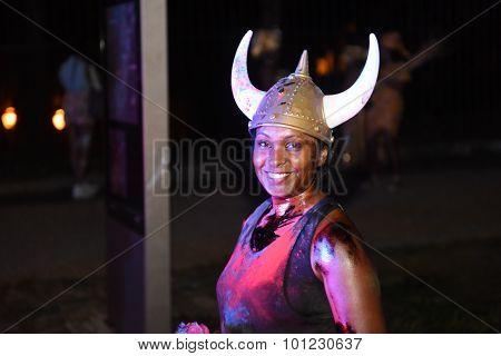 Woman in horned helmet