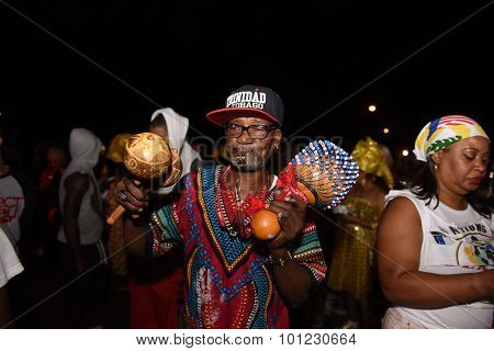 Reveler with gourds