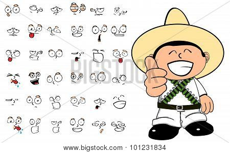 mexican kid cartoon emmotions set