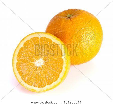 Orange On White Background.