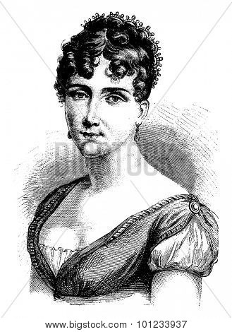 Hortense de Beauharnais, vintage engraved illustration. History of France  1885.