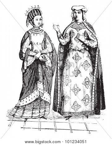 Blanche of Castile and Margaret of Provence, vintage engraved illustration.