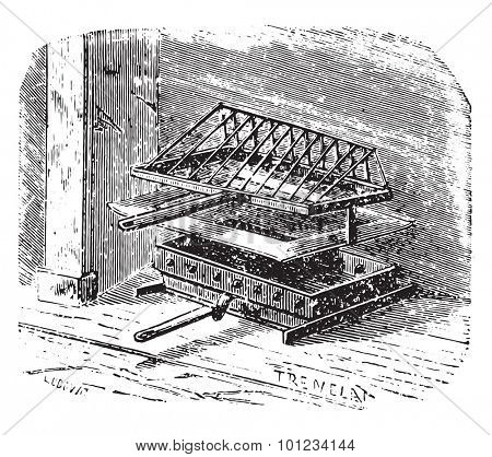 Grill inclined, vintage engraved illustration.