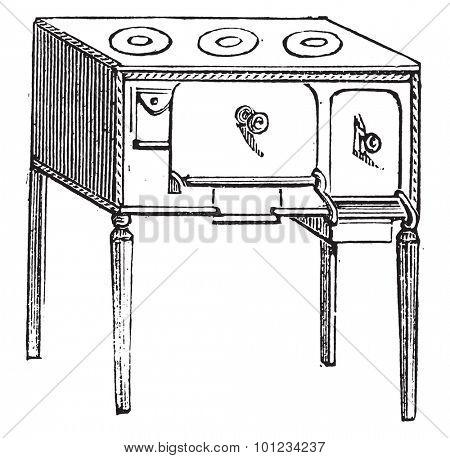 Belgian Furnace, vintage engraved illustration.