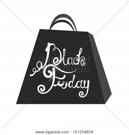 Vector Emblem Black Friday Sale. Lettering On The Package Black Friday