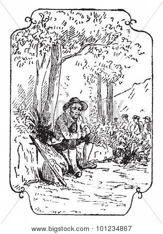 The philosopher peasant, vintage engraved illustration.