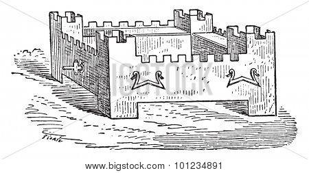 Braising shaped citadel, vintage engraved illustration.