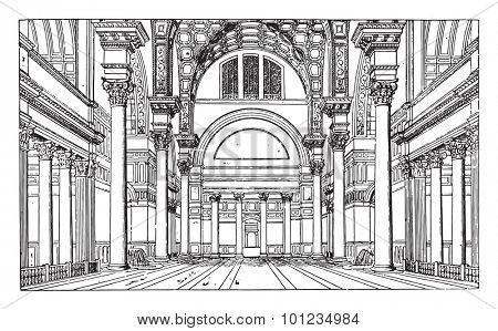 Hall of the Baths of Caracalla, vintage engraved illustration. Industrial encyclopedia E.-O. Lami - 1875.