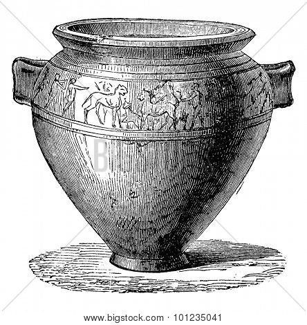 Etruscan vase, vintage engraved illustration. Industrial encyclopedia E.-O. Lami - 1875.