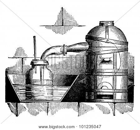 Reverberator furnace, vintage engraved illustration. Industrial encyclopedia E.-O. Lami - 1875.