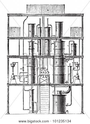 Continuous Purifier phlegm (first unit), vintage engraved illustration. Industrial encyclopedia E.-O. Lami - 1875.