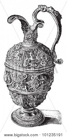 Pewter Ewer, vintage engraved illustration. Industrial encyclopedia E.-O. Lami - 1875.