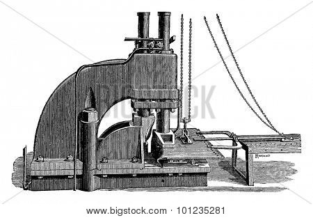 Swaging three hydraulic pistons workshops Newcastle upon Tyne, vintage engraved illustration. Industrial encyclopedia E.-O. Lami - 1875.