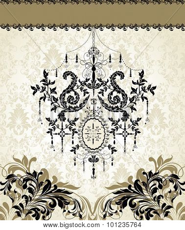 Vintage invitation card with ornate elegant retro abstract floral design, black and gray flowers and leaves on light gray and gray background with chandelier and ribbon text label Vector illustration