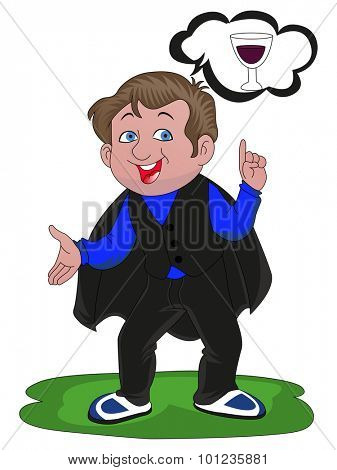 Vector illustration of happy magician thinking of alcoholic drink.