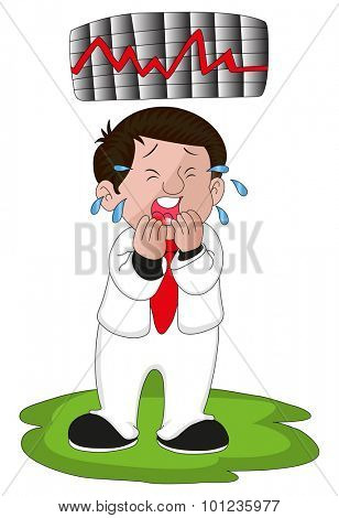 Vector illustration of crying businessman with graph of stock market crash.