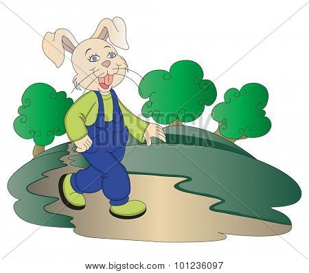 Vector illustration of rabbit walking in park.