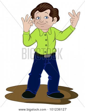 Vector illustration of man counting on his fingers.
