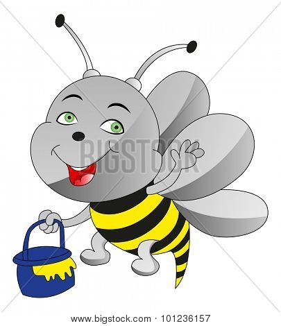 Vector illustration of happy honeybee carrying honey in a container.