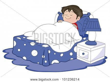Vector illustration of a boy sleeping in bed.