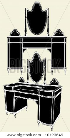 Antique Mirror Commode Vector...