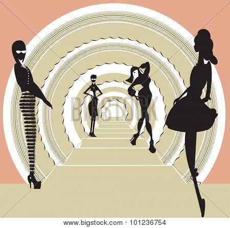 Illustration with four girls doing a fashion catwalk