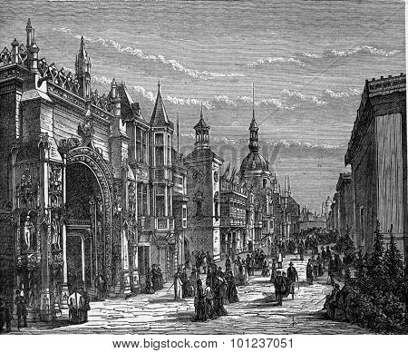 Street of Nations at the palace of the Champ de Mars. Industrial encyclopedia E.-O. Lami - 1875.