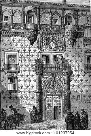 Facade of the palace of the Dukes of Infantado, Guadalajara, vintage engraved illustration. Industrial encyclopedia E.-O. Lami - 1875.